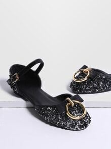 Black Ring Detail Ballet Flats