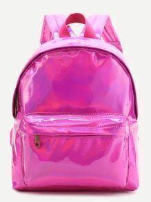 Hot Pink Front Tasche PU Rucksack