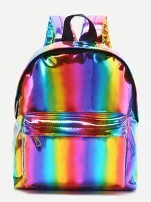 Mehrfarbige Fronttasche PU Rucksack