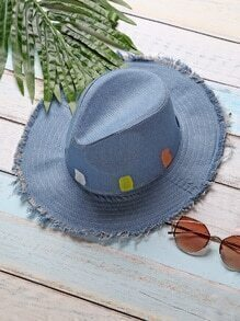 Blue Raw Trim Detail Denim Hat
