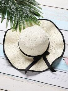 White Bow Tie Design Wide Brim Straw Hat