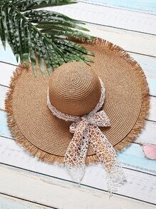 Khaki Raw Edge Straw Hat With Bow Tie