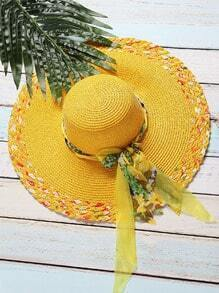 Yellow Textured Wide Brim Sunhat With Bow Tie