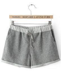Grey Drawstring Waist Pockets Shorts