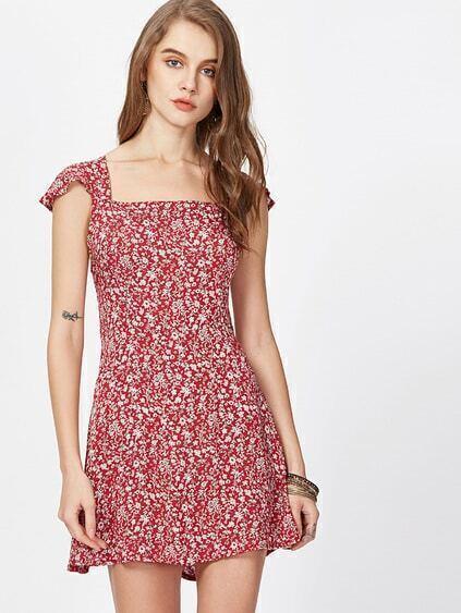 Florals Square Neck Criss Cross Bow Tie Back Dress