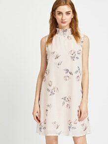 Apricot Floral Print Keyhole Back Dress