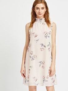 Vestido con estampado floral y espalda con abertura - albaricoque
