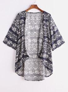 Navy Tribal Print Dip Hem Kimono