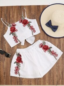 Flower Applique Tie Back Cami Top With Shorts