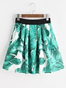 Green Leaf Print Elastic Waist Skirt