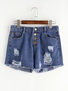 Blue Ripped Single Breasted Raw Hem Denim Shorts