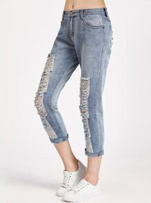 Blue Ripped Rolled Hem Cropped Jeans