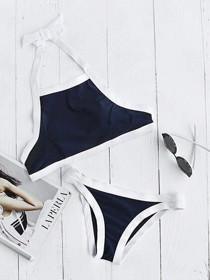 Contrast Trim Halter Bikini Set