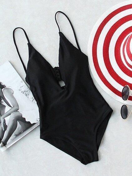 Black Plunge Neck Stappy Back One-Piece Swimwear