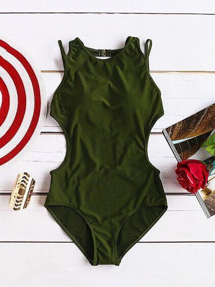 Army Green Side Cutout Sexy Monokini