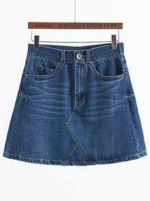 Blue A Line Denim Skirt