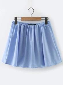 Blue Elastic Waist Skirt Shorts