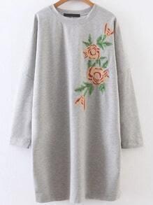 Vestido con bordado de hombros caídos - gris