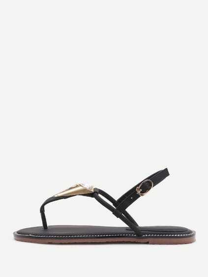 Black Metal Detail Thong Sandals