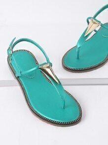 Turquoise Metal Detail Thong Sandals