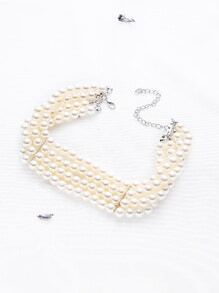 White Faux Pearl Layered Choker