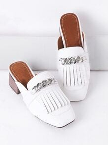 White Fringe Detail Chunky Heeled Slip On Shoes