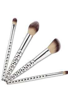 Cepillos de maquillaje 4pcs con diseño de la manija de nido de abeja - plateado