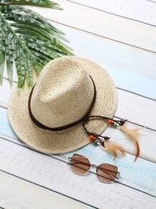 Beige Feather Detail Straw Hat
