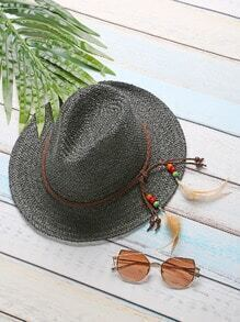 Black Feather Detail Straw Hat