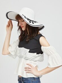 White Letter Patch Wide Brim Straw Hat
