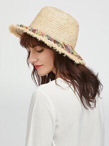 Beige Raw Edge Straw Hat With Colorful Tassel