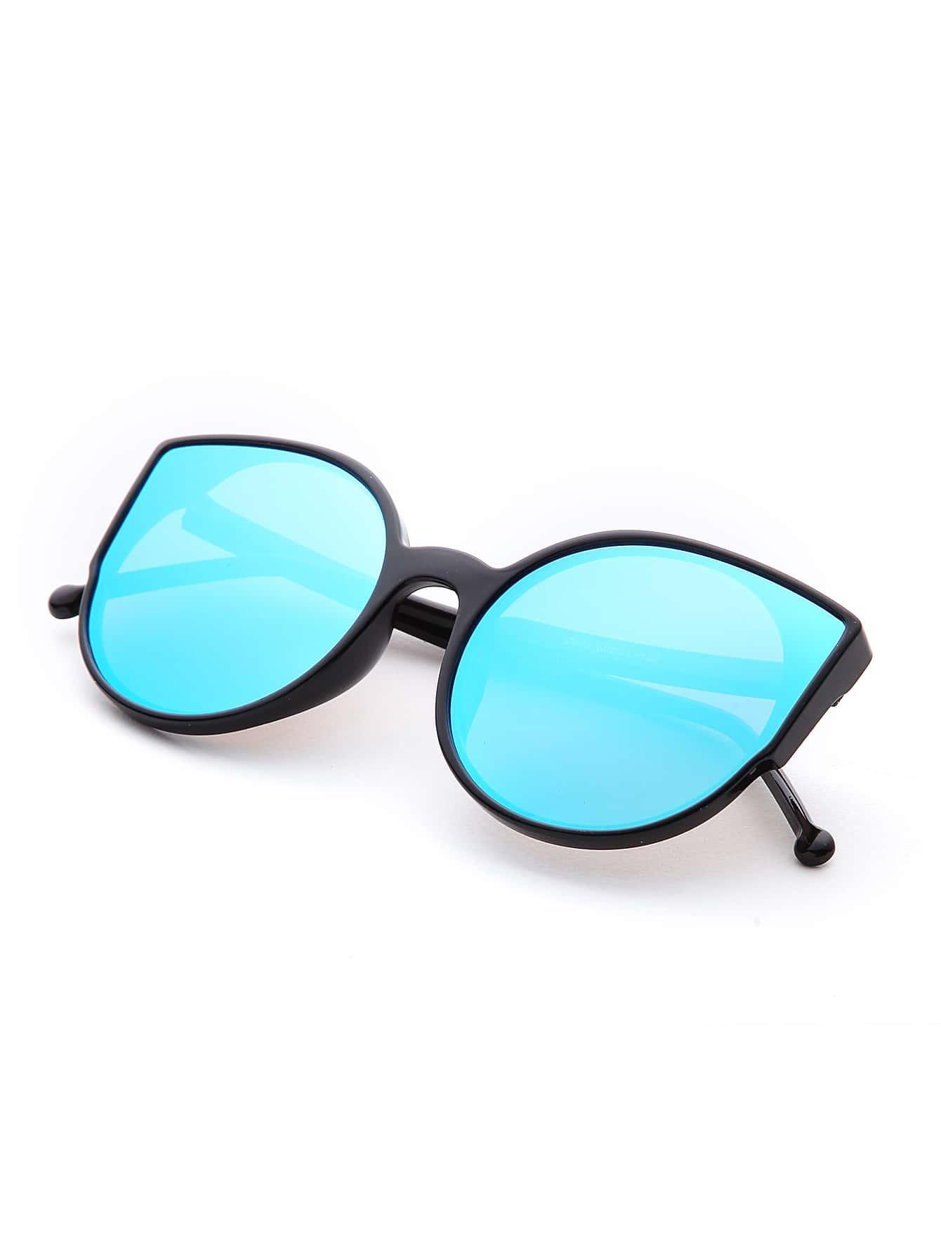 black frame blue lens katze auge sonnenbrille german romwe. Black Bedroom Furniture Sets. Home Design Ideas