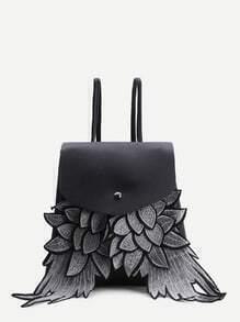 Black Wings Design PU Flap Rucksack