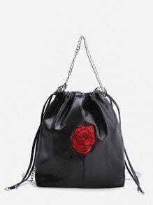 Bolso con bordado de rosa y cordón - negro