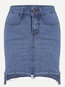 Blue Asymmetric Fray Hem Denim Skirt