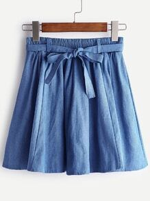Dark Blue Bow Tie Pleated Denim Skirt