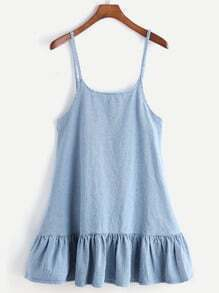 Blue Drop Waist Denim Slip Dress