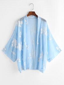 Blue Flower Embroidered Kimono