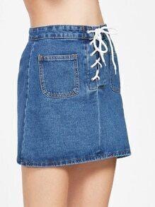 Blue Lace Up Pockets Front Denim Skirt