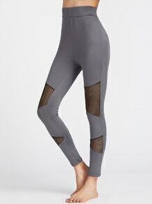 Leggings de malla en contraste - gris