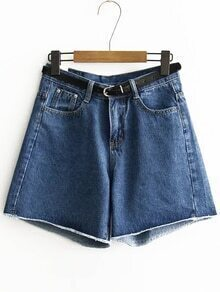 Blue Loose Denim Shorts With Belt