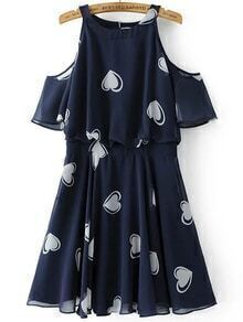 Navy Heart Print Open Shoulder Ruffle Trim Dress