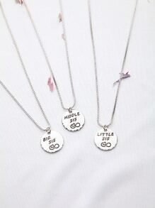 Silver Letter Pattern Friendship Necklace Set