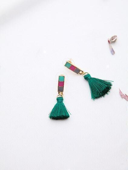 Green Tassel Drop Earrings