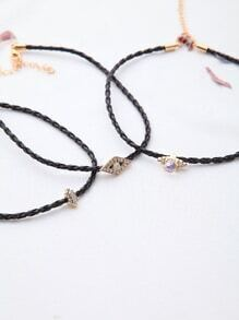Black Rhinestone Braided Choker Set