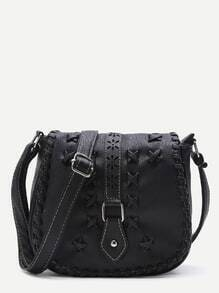 Black Criss Cross Detail Buckle PU Saddle Bag