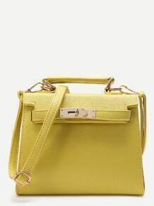 Yellow PU Satchel Bag With Handle