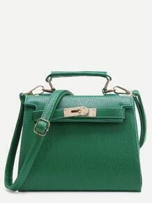 Green PU Satchel Bag With Handle