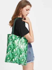 Green Leaf Print Tote Bag