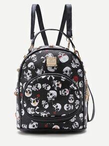 Black Skeleton Print Front Pocket PU Backpack